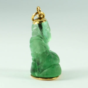 18K Yellow Gold Green Fluorite Buddha Large Charm Pendant