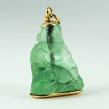 Load image into Gallery viewer, 18K Yellow Gold Green Fluorite Buddha Large Charm Pendant