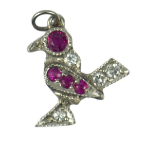 Platinum White Diamond Red Ruby Bird Charm Pendant