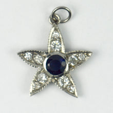 Load image into Gallery viewer, Platinum White Diamond Blue Sapphire Starfish Charm Pendant