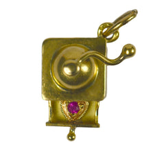 Load image into Gallery viewer, Coffee Grinder Love Heart Gold Ruby Charm Pendant