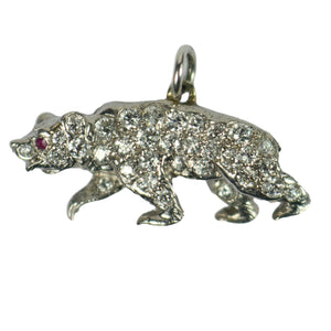 Platinum Diamond Ruby Bear Charm Pendant