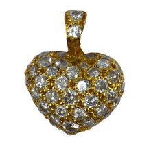 Load image into Gallery viewer, Puffy Heart 18K Gold Diamond Charm Pendant