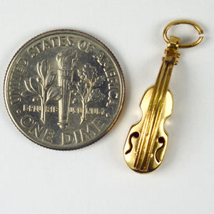 18K Yellow Gold Violin Charm Pendant