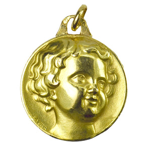 French Cherub Head Medal 18K Yellow Gold Charm Pendant