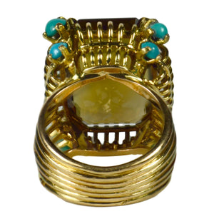 French Large Citrine Turquoise Gold Cocktail Ring