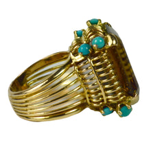 Load image into Gallery viewer, French Large Citrine Turquoise Gold Cocktail Ring