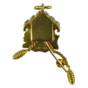 Yellow Gold Cuckoo Clock Charm Pendant