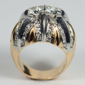 French Retro Diamond Gold Platinum Bombe Ring