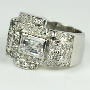 Art Deco Diamond Platinum Tank Ring