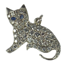 Load image into Gallery viewer, Art Deco Platinum White Diamond Blue Sapphire Cat Charm Pendant