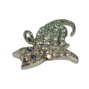 Art Deco Platinum White Diamond Blue Sapphire Cat Charm Pendant
