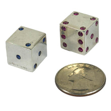 Load image into Gallery viewer, Pair of Silver Ruby Sapphire Dice