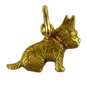 Yellow Gold Red Enamel Puppy Dog Charm Pendant