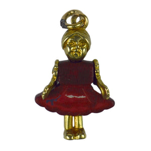 14kt Yellow Gold Wood Mechanical Doll Charm Pendant
