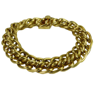 Yellow Gold Engraved Double Curb Link Bracelet