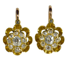 Load image into Gallery viewer, Diamond Gold Dormeuse Drop Cluster Earrings
