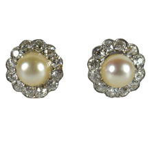 Load image into Gallery viewer, Natural White Pearl Diamond Cluster Stud Earrings