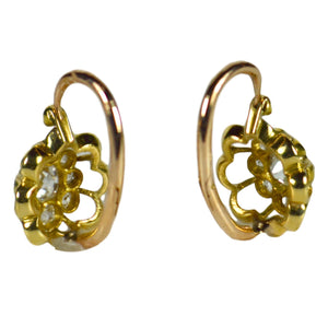 Diamond Gold Dormeuse Drop Cluster Earrings