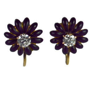 Enamel Diamond Gold Flower Earrings