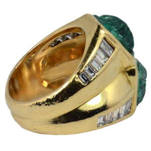 Carved Emerald Diamond Gold Ring