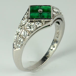 Checkerboard Invisibly-Set Emerald Diamond Pave Platinum Ring