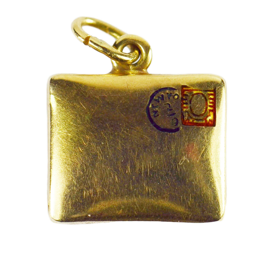 Paul Flato Attrib. Yellow Gold Enamel Envelope Charm Pendant