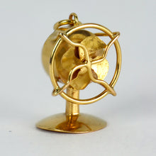 Load image into Gallery viewer, 18K Yellow Gold Mechanical Desk Fan Charm Pendant