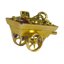 Load image into Gallery viewer, French Yellow Gold Enamel Flower Cart Charm Pendant