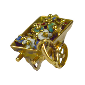 French Yellow Gold Enamel Flower Cart Charm Pendant