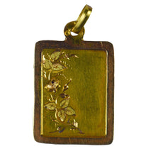 Load image into Gallery viewer, French Yellow Rose Gold Floral Frame Charm Pendant