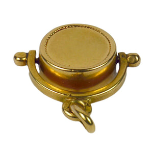 French 18kt Yellow Gold Spinning Fob Charm Pendant