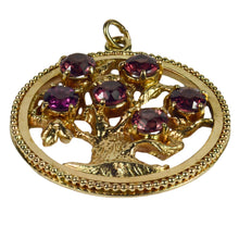 Load image into Gallery viewer, Large Yellow Gold Red Garnet Tree of Life Medallion Charm Pendant