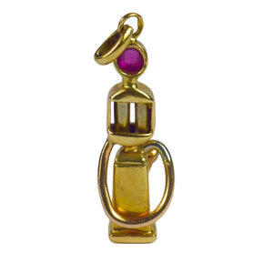 French Yellow Gold Red Ruby Gas Pump Charm Pendant