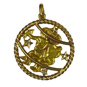 French Gemini Zodiac Gold Diamond Pendant Charm