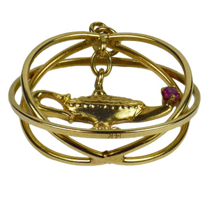 Yellow Gold Red Ruby Genie Lamp Kinetic Large Charm Pendant