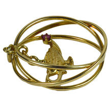 Load image into Gallery viewer, Yellow Gold Red Ruby Genie Lamp Kinetic Large Charm Pendant