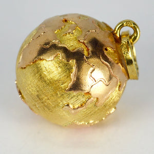 18K Yellow Rose Gold World Globe Charm Pendant