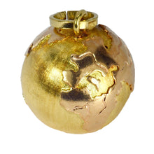 Load image into Gallery viewer, 18K Yellow Rose Gold World Globe Charm Pendant