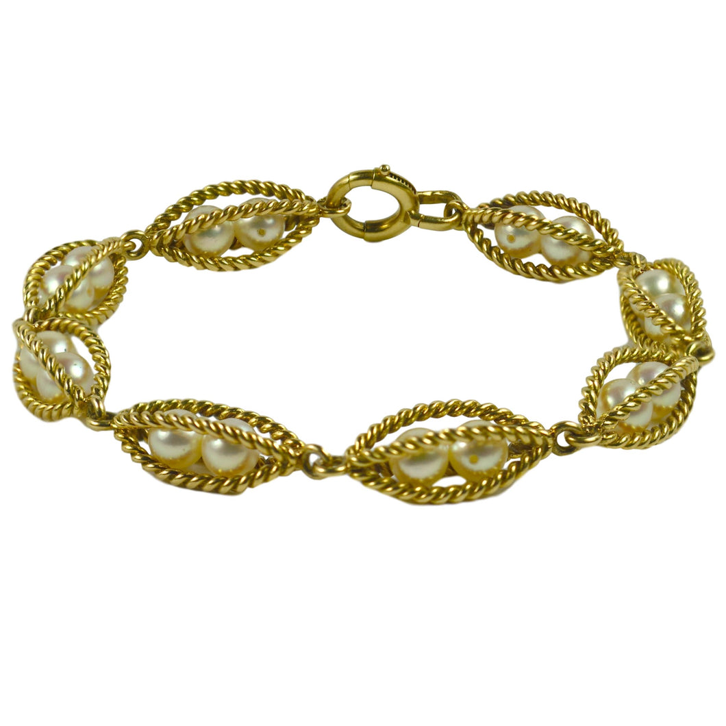 French 18 Karat Yellow Gold Caged Pearl Bracelet