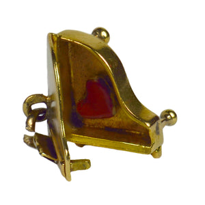 Yellow White Gold Grand Piano Red Enamel Love Heart Charm Pendant