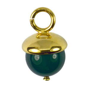 18K Yellow Gold Green Agate Sphere Charm Pendant