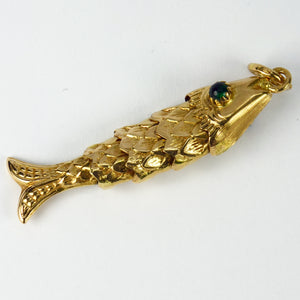 18K Yellow Gold Green Paste Large Articulated Fish Charm Pendant