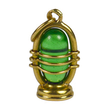 Load image into Gallery viewer, Yellow Gold Green Paste Lantern Charm Pendant