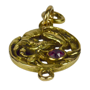French Art Nouveau 18K Yellow Gold Red Ruby Griffon Charm Pendant