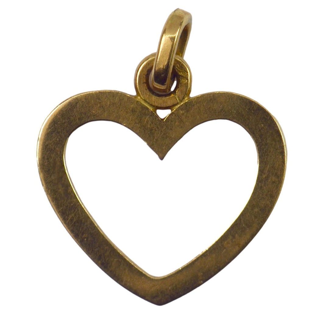 French Open Heart 18K Yellow Gold Charm Pendant
