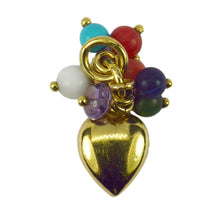 Load image into Gallery viewer, 18K Yellow Gold Heart Gem Tassel Charm Pendant