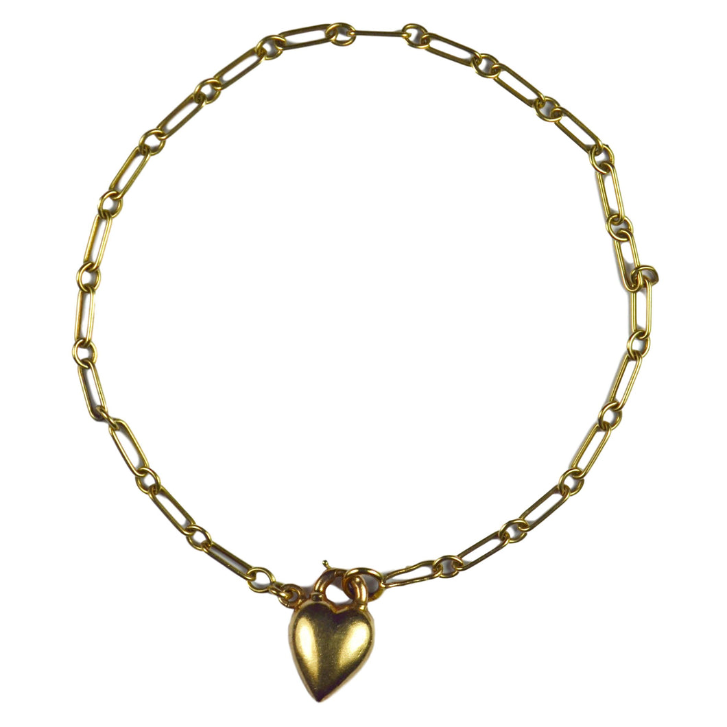 Yellow Gold Chain Link Bracelet With Puffy Heart Padlock Charm Pendant
