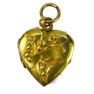 French ORIA Rolled Gold Lily of the Valley Heart Mourning Locket Pendant