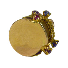 Load image into Gallery viewer, French Yellow Gold Gem Set Love Heart Lovers Pavilion Charm Pendant